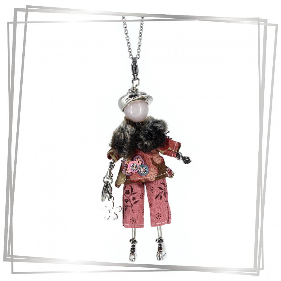 Poupée collier caroline avec quartz rose |Murmures d'une charmeuse||sautoir poupée|collier poupée |lithothérapie |pièce unique |bijoux fantaisie| collier personnalisé |bijoux personnalisé |collier fantaisie |bijou personnalisé|bijoux fantaisie de qualité|pendentif personnalisé bijoux fantaisie femme |créateur |bijoux personnalisé femme