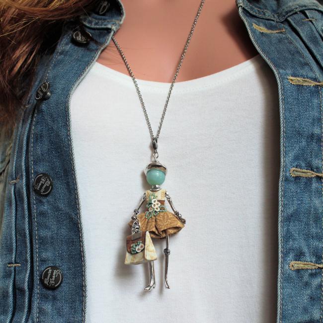 Pendentif poupée Melya |Murmures d'une charmeuse | Amazonite