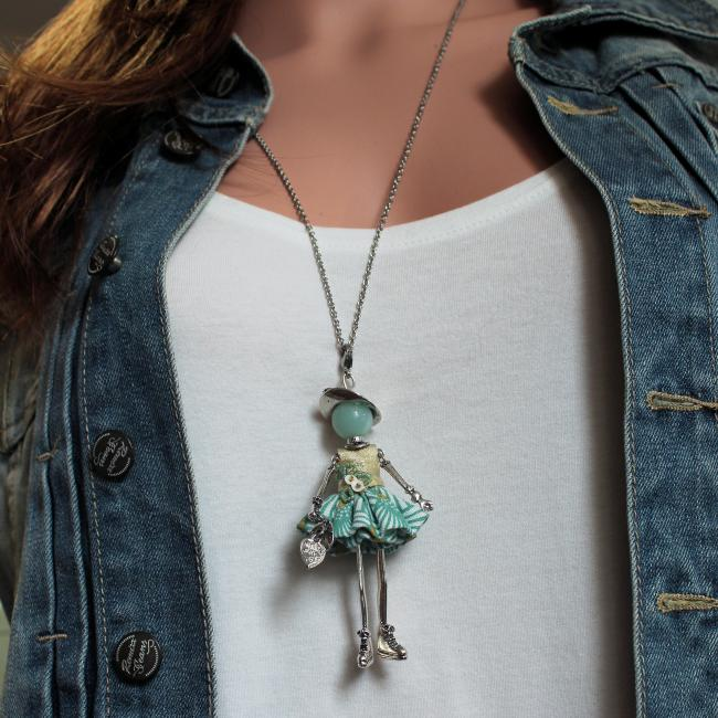 Pendentif poupée Nelly |Murmures d'une charmeuse| Amazonite