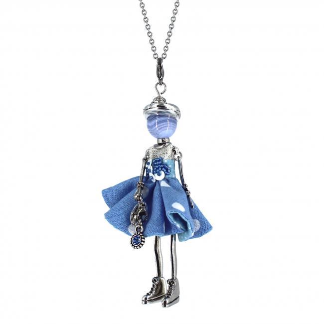 Pendentif poupée Ailyne |Murmures d'une charmeuse | Calcédoine bleue