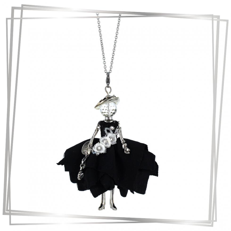 Collier Sautoir Poupée robe noire et blanche |Murmures d'une charmeuse|sautoir poupée|collier poupée |lithothérapie |pièce unique |bijoux fantaisie| collier personnalisé |bijoux personnalisé |collier fantaisie |bijou personnalisé|bijoux fantaisie de qualité|pendentif personnalisé bijoux fantaisie femme |créateur |bijoux personnalisé femme |argent 925 |lithotérapie |pierre gemme