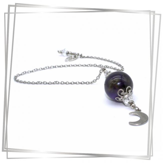 Pendule Sélèné |Murmures d'une charmeuse | radiesthésie pendule |pierres fines| |lithothérapie |pièce unique | talisman | |créateur |argent 925 |lithotérapie |pierre gemme | pendule divinatoire |pendule paris